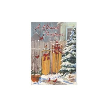 Winter Sleds Boxed Holiday Greeting Cards HBX11628 -