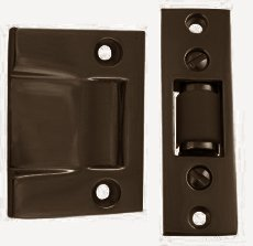 Emtek 8801 3-3/8 Inch Height Solid Brass Roller Catch With Strike and Screws, Oil Rubbed Bronze