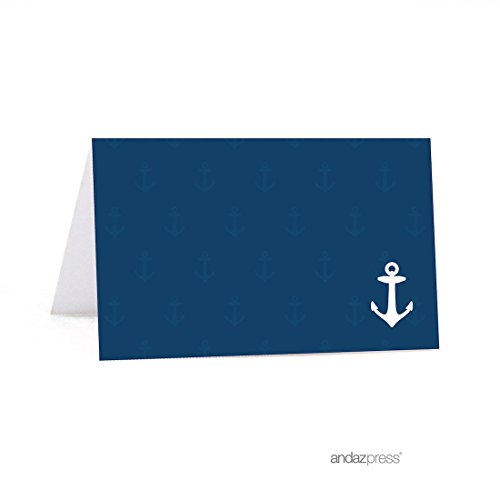 Andaz Press Nautical Ocean Adventure Wedding Collection, Printable Small Table Tent Place Cards, 20-Pack (Nautical Wedding Centerpiece)