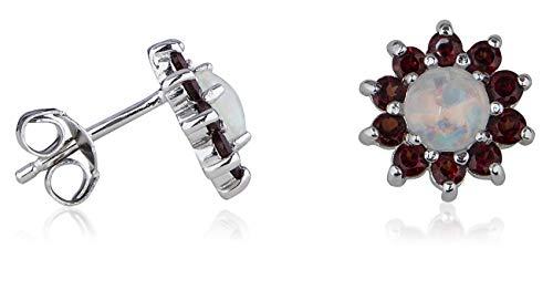Silver Created Opal and Genuine Garnet Earrings ()