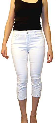 (INC International Concepts Petite Embellished White Wash Cropped Jeans (White Denim, 10 P))