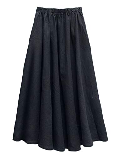 Soojun Women's Solid Cotton Linen Retro Vintage A-line Long Flowy Skirts, Deep Black, Medium Average