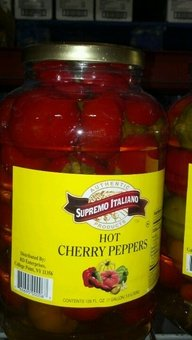 Supremo Italiano Hot Cherry Peppers 1 Gal (4 Pack)