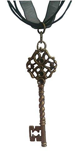 Rapunzel Swirling Skeleton Key Pendant on a Black Ribbon Choker (Happy Skeleton Costume)
