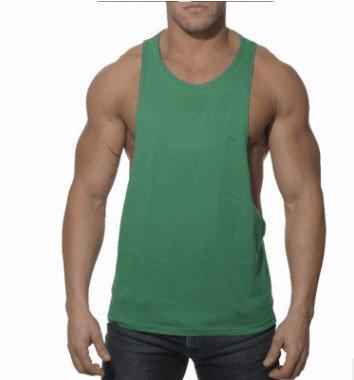 Mailiw Mens I-Shaped Vest Workout Fitness Bodybuilding Sleeveless Solid color T-Shirt Vest (M, Green)