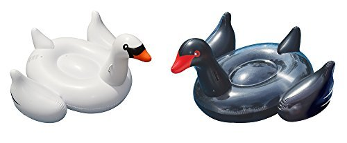 Giant Inflatable Black Swan and White Swan Float Toy for Swimming Pools & Beach by Swimline