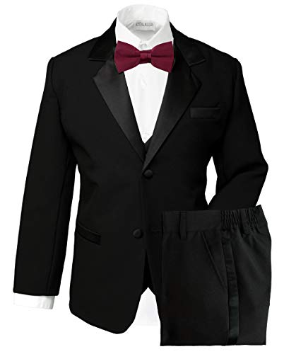 (Spring Notion Boys' Classic Fit Tuxedo Set, No Tail 16 Black-Burgundy)