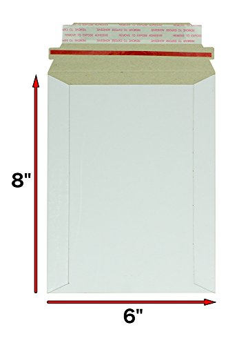 20 Pack Rigid Mailers size 6 x 8 ( 6x8 ). White Cardboard Self sealing envelopes. Stay Flat & No bend mailers . Premium Quality. 26pt paperboard. Photo & Documents & DVD & CD. Mfg# 8x6.