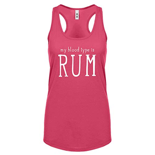 Indica Plateau Racerback My Blood Type is Rum Large Hot Pink Womens Tank Top