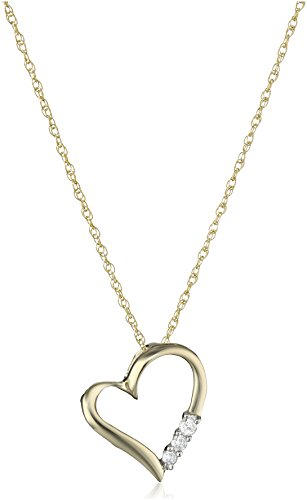 10k Yellow Gold and Diamond 3-Stone Heart Pendant Necklace (1/10 cttw, I-J Color, I2-I3 Clarity), 18