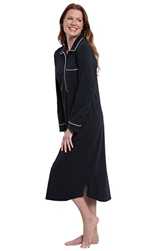 PajamaGram Womens Nightgowns Cotton Jersey - Ladies Nightgowns, Black, XL, -