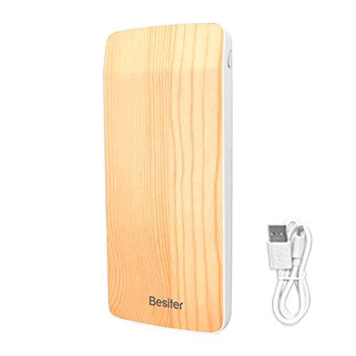 CNluca para Diseño Moderno Ultra Thin Wood Grain 10000mAh Powerbank Externo para teléfono móvil Cargador de batería...
