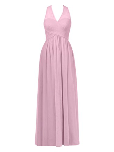 Gown V Dress Sea Party Long Bridesmaid Pink Prom Evening Dress Neck Alicepub Tulle Women's FRqBHw4PPc