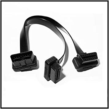 30cm OBD2 OBDII Ultra Low Profile Y Splitter Extension Cable Male to Dual Female