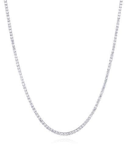 JOTW Sterling Silver Rhodium Plated Cz 3mm 24 inch Tennis Chain Necklace