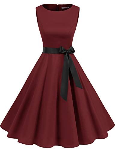 Gardenwed Women's Audrey Hepburn Rockabilly Vintage Dress 1950s Retro Cocktail Swing Party Dress Burgundy L