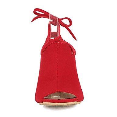 LvYuan Mujer-Tacón Stiletto-Confort Tira en el Tobillo Zapatos del club-Sandalias-Boda Vestido Fiesta y Noche-Vellón-Negro Azul Rojo Blue