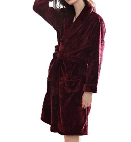 Damas Hombres Camisones Pijamas E El Invierno Para Baño Hogar Caída Vintage Rojo Franela Engrosados ropa IFA40F