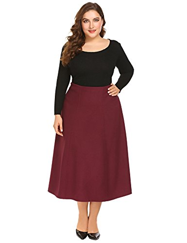 Skirt Red Suit Wool (Adidome Women's Vintage High Waist Wool A-Line Pleated Midi Skirts(Red,3XL))