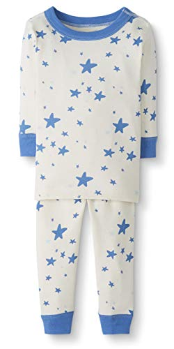 Moon and Back by Hanna Andersson Baby/Toddler 2-Piece Organic Cotton Long Sleeve Star Print Pajama Set, Blue Star, 2T