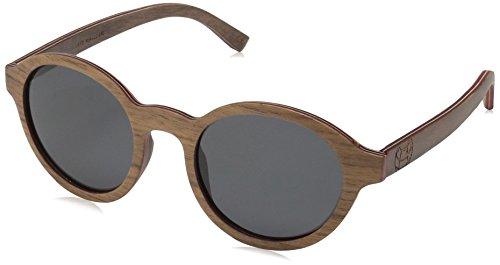 Earth Wood Maho Polarized Round Sunglasses, Brown Stripe//Black, 48 mm - Polarized Wood Sunglasses Earth