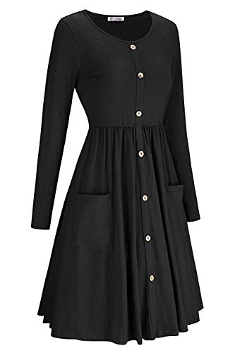 Sleeve Dress Down Button Swing Pockets Long Black Befily Womens Loose with Midi O8wE66