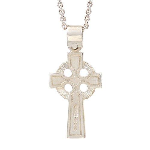 Pendentif de Croix Celtique en argent fin (92,5%); collier inclusive