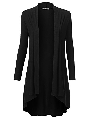 URBANCLEO Womens Solid Ribbed Hi-Lo Open Front Long Cardigan Black, 2XL - Long Open Cardigan