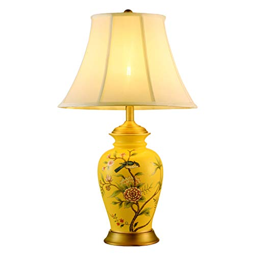 (CJH New Chinese Ceramic Lamp Bedroom Bedside Lamp Chinese Style Hotel Villa Copper Lamp Antique Yellow)