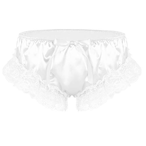 MSemis Men Sissy Crossdress Panties Lace Satin Frilly Ruffled Bloomer Thong Underwear Lingerie White Medium (Waist 30.0''-46.0