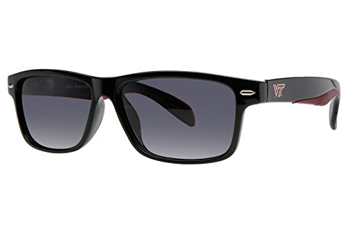 Virginia Tech Hokies Preppy Sunglasses with Color Tips, Black (Tech Logo Virginia Square)