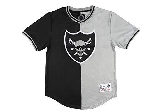 (Maximilian Skull Raider Split Baseball Jersey Black Grey Mens Athletic TEE (X-Large))