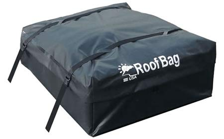 (RoofBag 100% Waterproof, Made in USA, Premium Triple Seal for Maximum Protection, 2 Yr Warranty, Fits ALL Cars: With Side Rails, Cross Bars or No Rack, Rooftop Cargo Carrier includes Heavy Duty Straps)