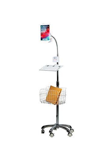 CTA Digital PAD-HFSVU Heavy-Duty Gooseneck Floor Stand with Vesa Plate, Locking Wheels and Storage Basket for 7-14 Inch Tablets