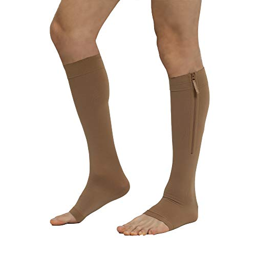 Zippered Compression Stockings Women Men Open Toe Toeless 20-30mmHg, YKK Side Zippers Knee High Support Hose Socks Sleeves Plus Size Graduated Medical Fit for Running Flight Nurses (Beige ()