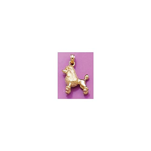 FB Jewels 14K Yellow Gold 3D Poodle Dog Pendant ()