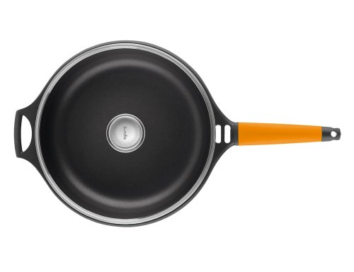 Fundix by Castey Nonstick Cast Aluminium Induction Sauté Pan with Tempered Glass Lid and Removable Orange Handle, 12-Inch/4-3/4-Quart by Castey (Image #1)