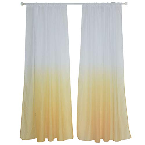 WUBODTI Yellow Ombre Sheer Voile Room Door Window Curtain Linen Sheer Drape Curtain Panel for Bedroom Living Room Gradient Gauze Curtains 1 Panel,Home Decoration Window Treatment Curtain,80 inch Long ()