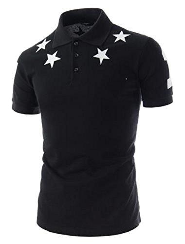 [(ハジメハジメ) hazime×hazime] 星柄 半袖 ポロシャツ シンプル タイト スリム ゴルフウェア スター