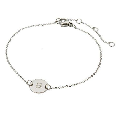 HUAN XUN Stainless Steel Dot Charm Chain Bracelet Letter B -