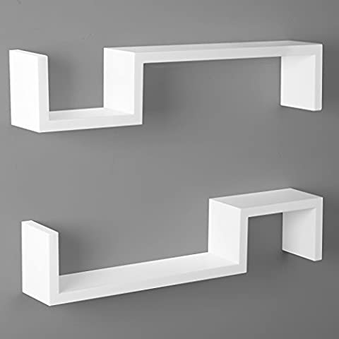 WOLTU AWSX1002whi-a S-Wall Shelf set of 2 Floating Shelves Storage Baskets Decor mounted Display White