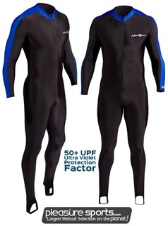 NeoSport Wetsuits Full Body Sports Skins Full Body Sports Skins, Blue Trim, X - Diving, Snorkeling & Wakeboarding