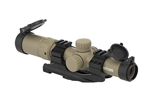 Monstrum Tactical 1.5-4x Tactical Rifle Scope with Range Finder Reticle and One-Piece Offset Mount (Flat Dark Earth) (Best Red Dot For Colt Le6920)