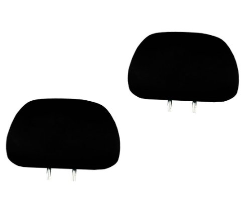 2x Solid Black Universal Headrest Covers for Cars Trucks & Cover Dvd tv Monitors – Set of 2
