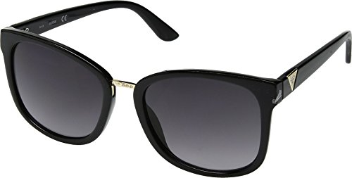 GUESS Women's GF0327 Shiny Black With Gold/Smoke Gradient Lens One Size
