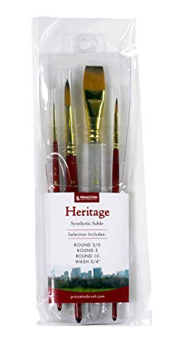 - Princeton Heritage, Golden Taklon Brushes for Warercolor & Acrylic, Series 4050 Synthetic Sable, Professional Set