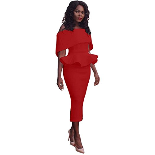 (Women Dress Daoroka Ladies Sexy Off Shoulder Plus Size Work Office Pencil Bodycon Casual Sheath Business Party Skirt (L, Red))