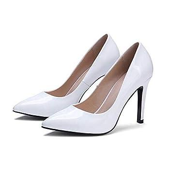 ZHZNVX Womens Shoes Patent Leather Summer Comfort Heels Stiletto Heel White//Black Wine