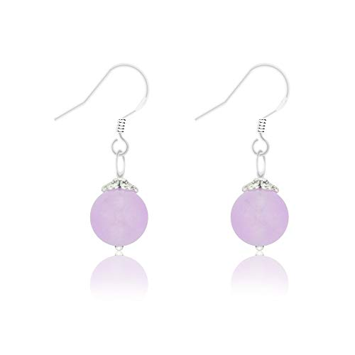 (Natural Gem 925 Sterling Silver Earrings Chalcedony Clear Crystal Agate Bead Drop Stone Earrings with Hypoallergenic Hook)