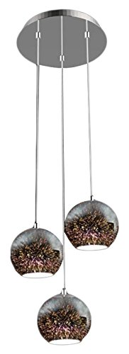 "SereneLife Home Lighting Fixture - Triple Pendant Hanging Lamp Ceiling Light with 3 7.1"" Circular Sphere Shaped Dome Globes, Sculpted Glass Accent, Adjustable Length and Screw-in Bulb Socket (SLLMP21) by SereneLife"